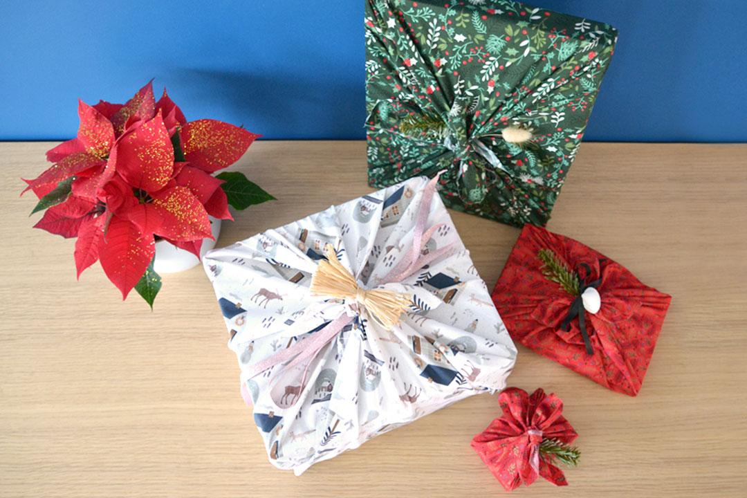 Furoshiki emballage cadeau tissu